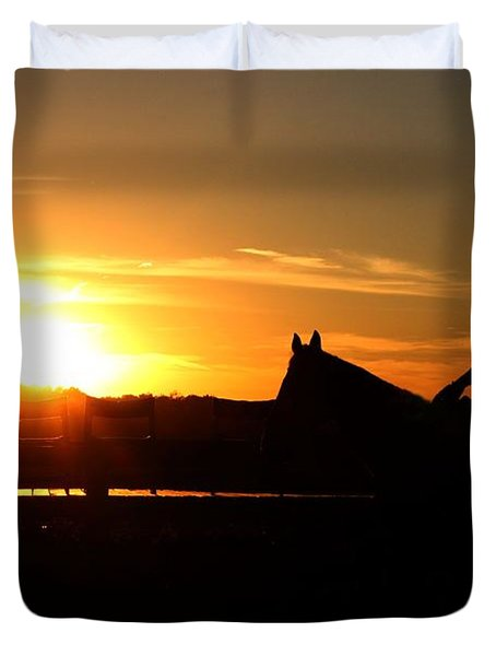 Riding At Sunset Duvet Cover