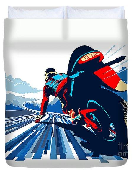 Riding On The Edge Duvet Cover