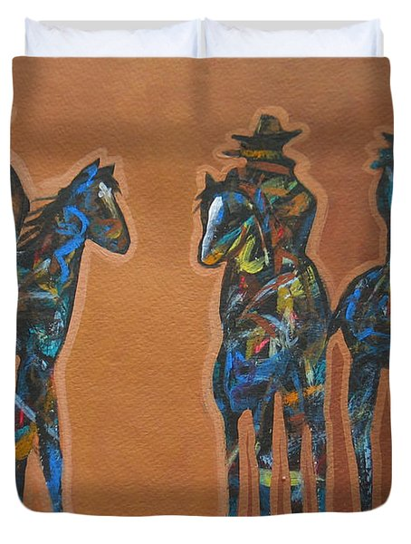 Riding Three Duvet Cover by Lance Headlee