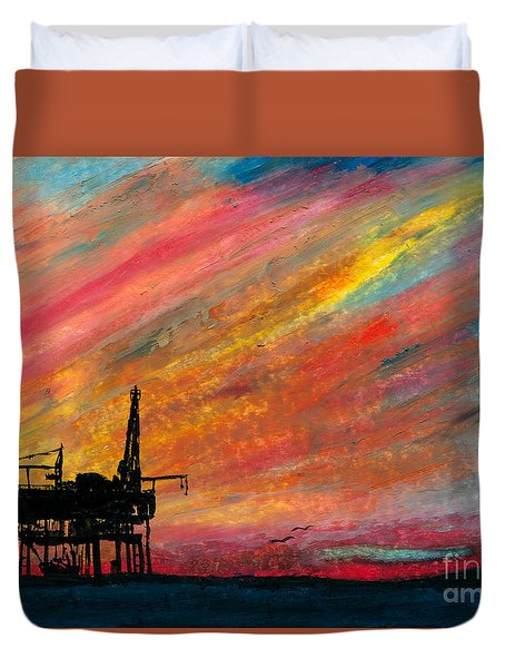 Rig At Sunset Duvet Cover