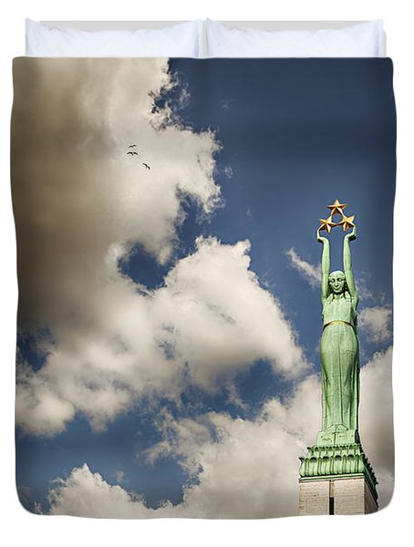 Riga Freedom Monument Duvet Cover by Sophie McAulay