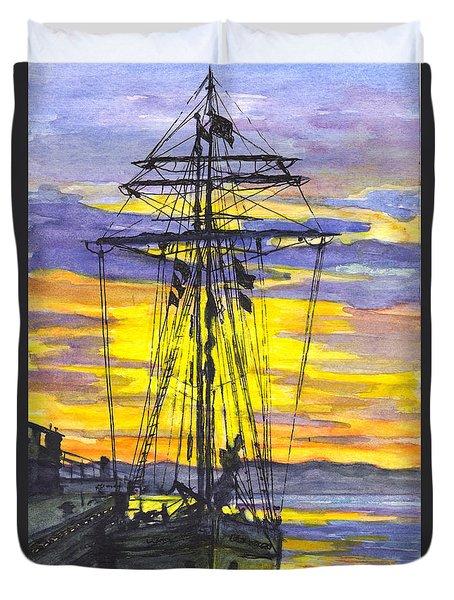 Rigging In The Sunset Duvet Cover by Carol Wisniewski