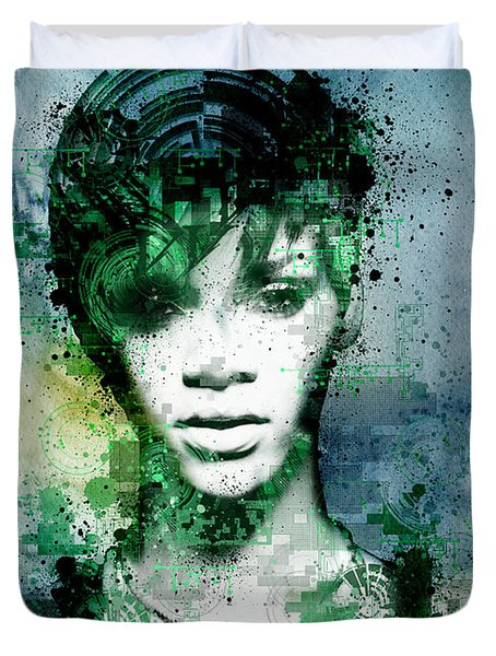 Rihanna 4 Duvet Cover by Bekim Art