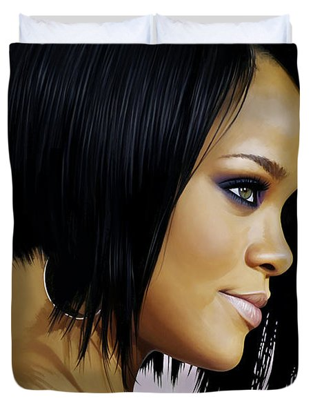 Duvet Cover featuring the painting Rihanna Artwork by Sheraz A