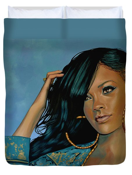 Rihanna Painting Duvet Cover by Paul Meijering