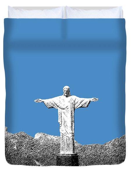 Rio De Janeiro Skyline Christ The Redeemer - Slate Duvet Cover