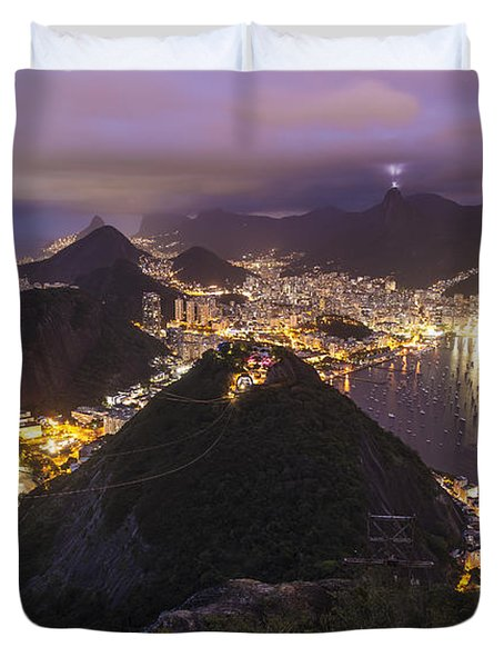 Rio Evening Cityscape Panorama Duvet Cover