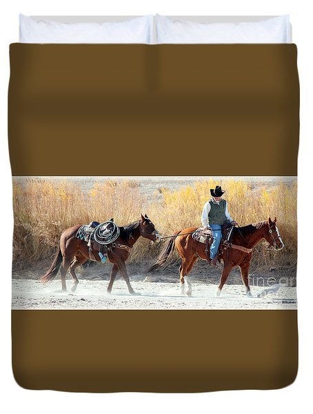 Rio Grande Cowboy Duvet Cover by Barbara Chichester
