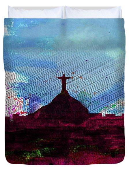 Rio Watercolor Skyline Duvet Cover