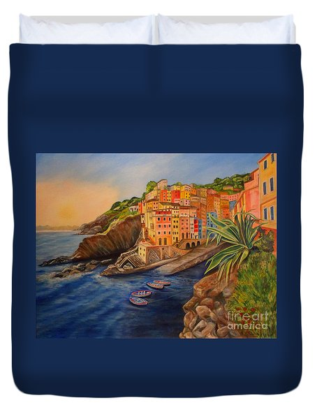 Riomaggiore Amore Duvet Cover by Julie Brugh Riffey