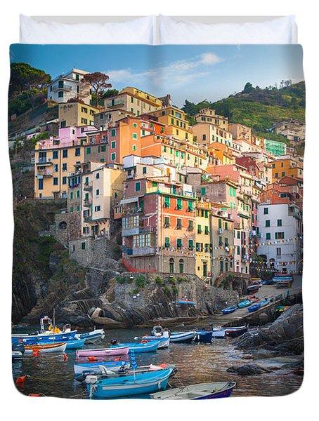 Riomaggiore Boats Duvet Cover