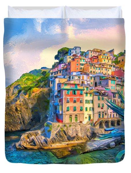 Riomaggiore Morning - Cinque Terre Duvet Cover