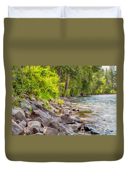 Rip Rap On The Methow River Duvet Cover by Omaste Witkowski