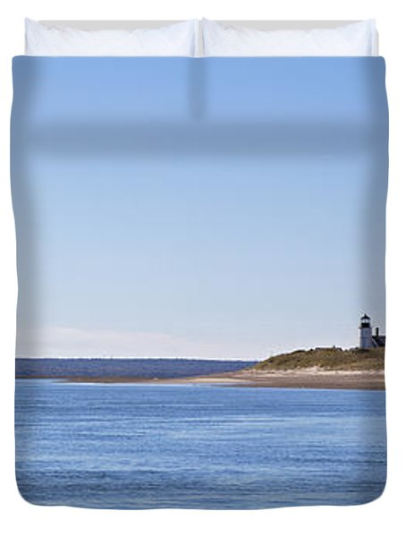 Ripple Catboat With Red Sail And Lighthouse Duvet Cover