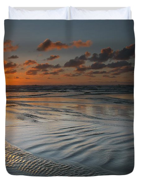 Ripples On The Beach Duvet Cover by Mike  Dawson