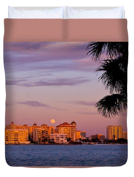 Rising Full Moon Sunset Sarasota Cityscape Duvet Cover