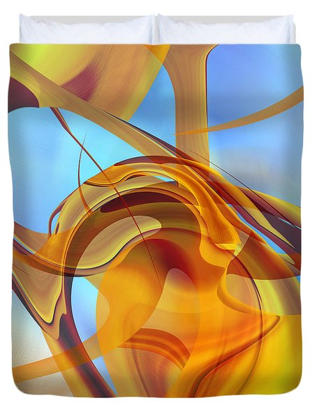 Rising Into Sky Blue Abstract Duvet Cover