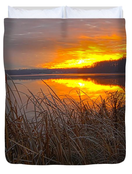 Duvet Cover featuring the photograph Rising Sunlights Up Shore Line Of Cattails by Randall Branham
