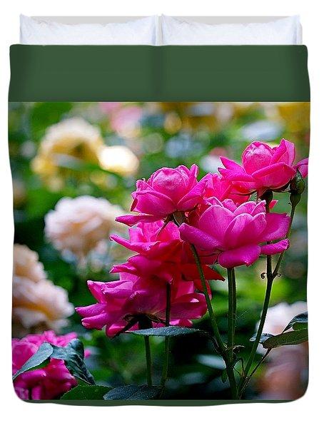 Rittenhouse Square Roses Duvet Cover by Rona Black