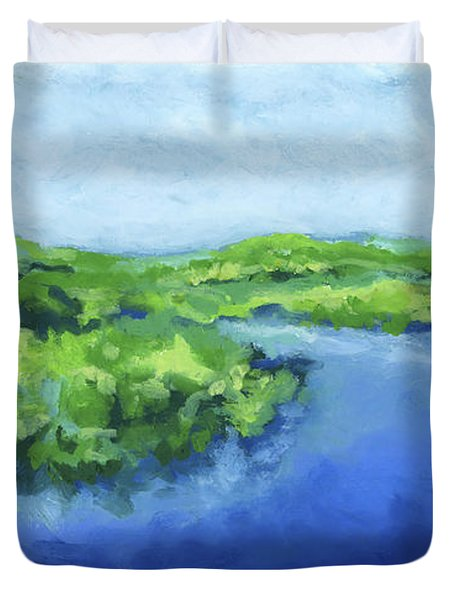 Duvet Cover featuring the painting River Bend by Stephen Anderson
