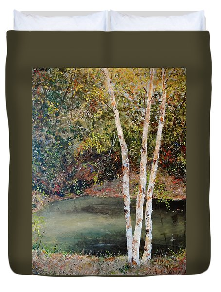 Duvet Cover featuring the painting River Birch by Alan Lakin