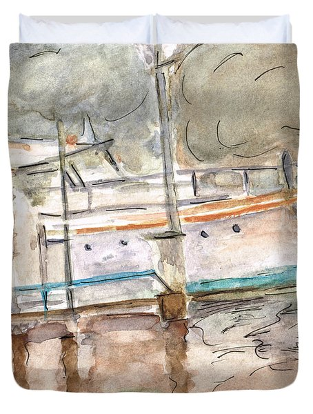 Duvet Cover featuring the painting River Boat  by Teresa White