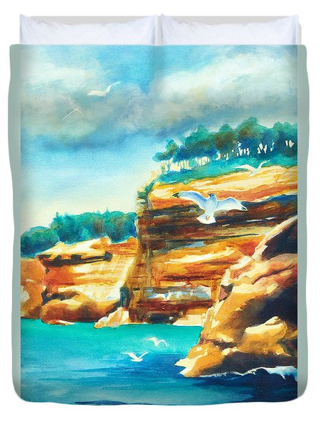 River Cliffs 2 Duvet Cover by Kathy Braud