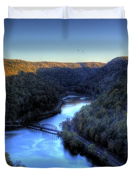 Duvet Cover featuring the photograph River Cut Through The Valley by Jonny D