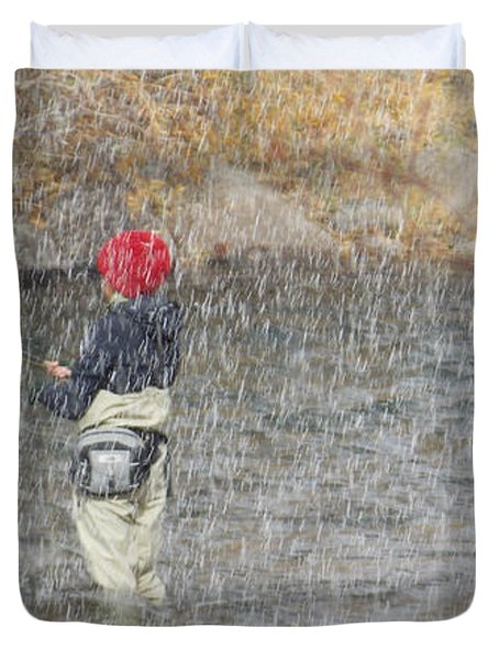 River Fishing In The Snow Duvet Cover by Brent Dolliver