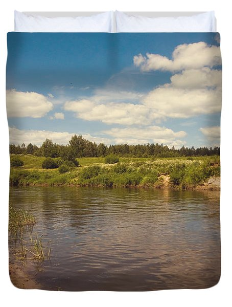 River Flows Duvet Cover by Jenny Rainbow