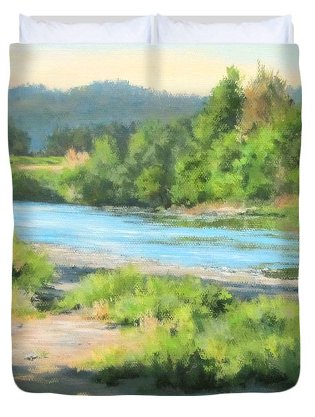 River Forks Morning Duvet Cover by Karen Ilari