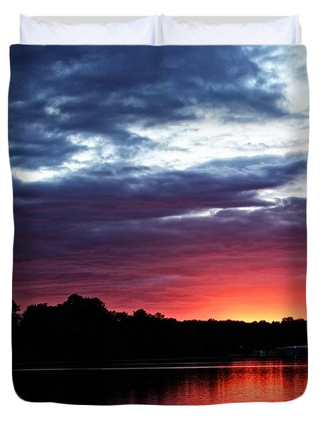 Duvet Cover featuring the photograph River Glow by Dave Files