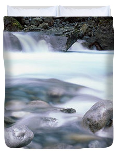 River, Hollyford River, Fiordland Duvet Cover by Panoramic Images