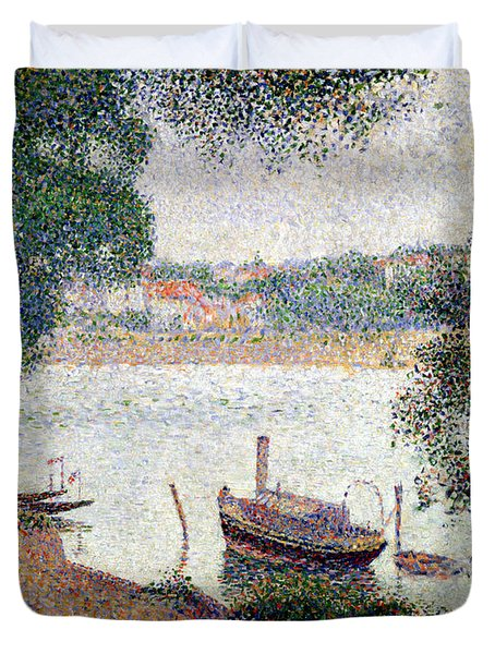 River Landscape With A Boat Duvet Cover by Georges Pierre Seurat