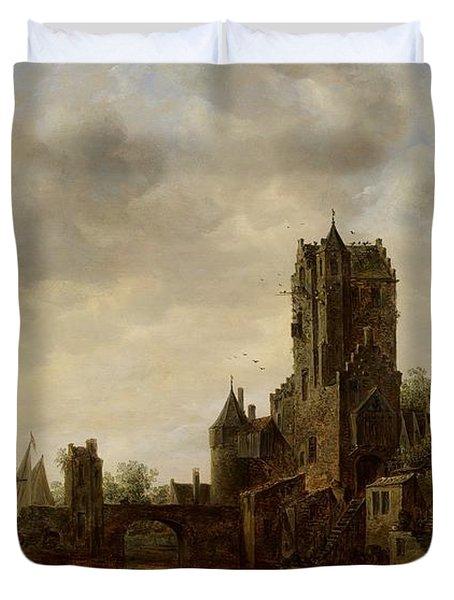 River Landscape With The Pellecussen Gate Near Utrecht Duvet Cover by Jan Josephsz van Goyen