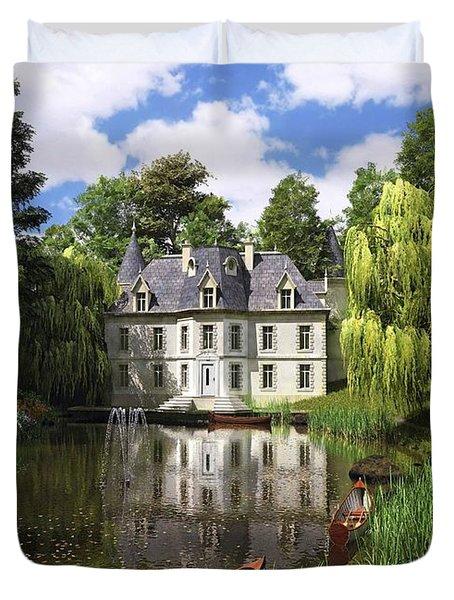 River Mansion Duvet Cover by Dominic Davison