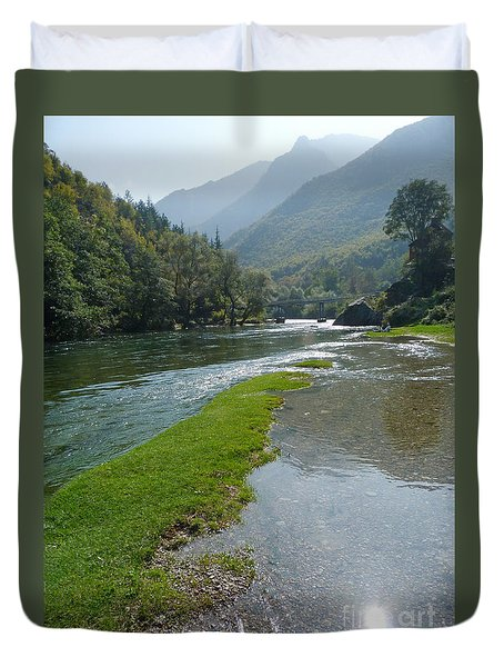 Duvet Cover featuring the photograph River Matka - Macedonia by Phil Banks