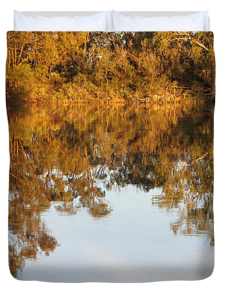 River Murray Reflections Early Evening Duvet Cover by Carole-Anne Fooks