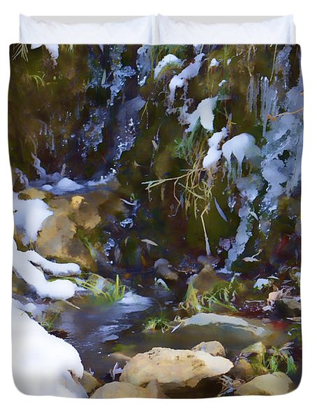 River Painting Duvet Cover by Donna Greene