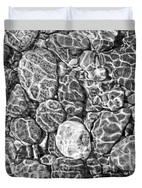 River Rocks In Stream Bed Monochrome Duvet Cover