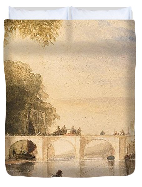 River Scene With Bridge Of Six Arches Duvet Cover by Robert Hindmarsh Grundy