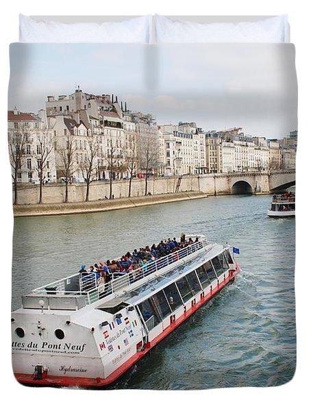 River Seine Excursion Boats Duvet Cover