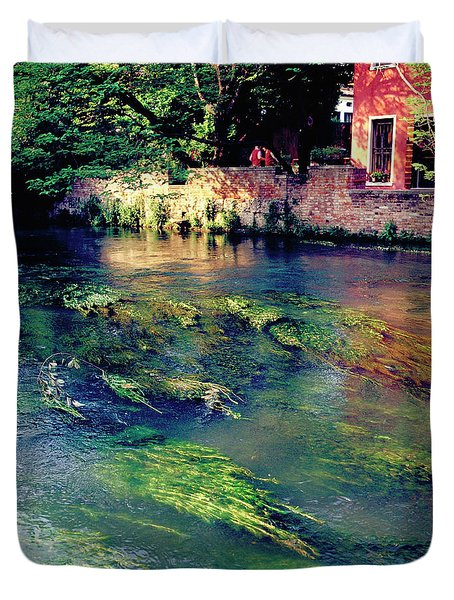 River Sile In Treviso Italy Duvet Cover by Heiko Koehrer-Wagner
