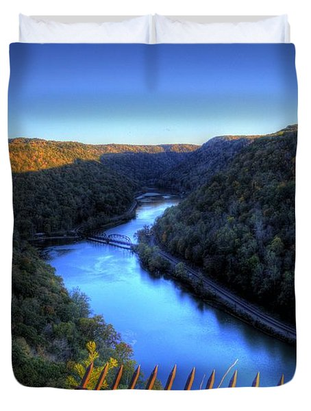 Duvet Cover featuring the photograph River Through A Valley by Jonny D