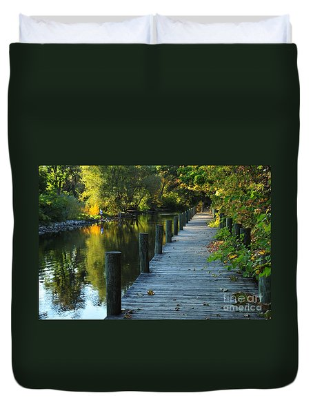 River Walk In Traverse City Michigan Duvet Cover by Terri Gostola