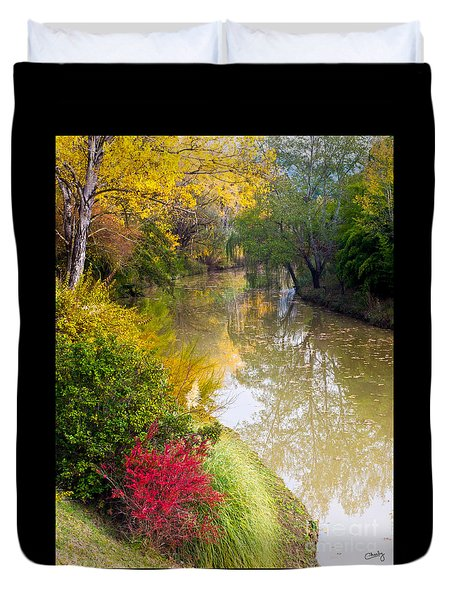 River With Autumn Colors Duvet Cover