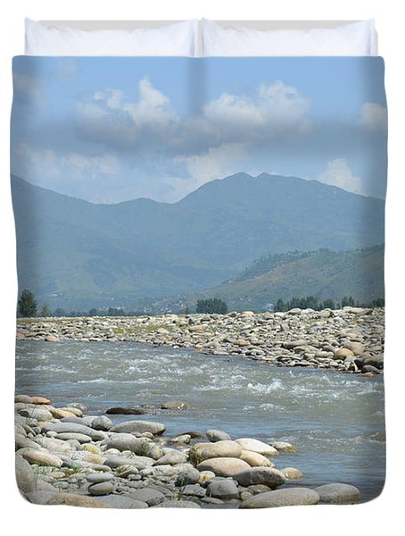 Riverbank Water Rocks Mountains And A Horseman Swat Valley Pakistan Duvet Cover