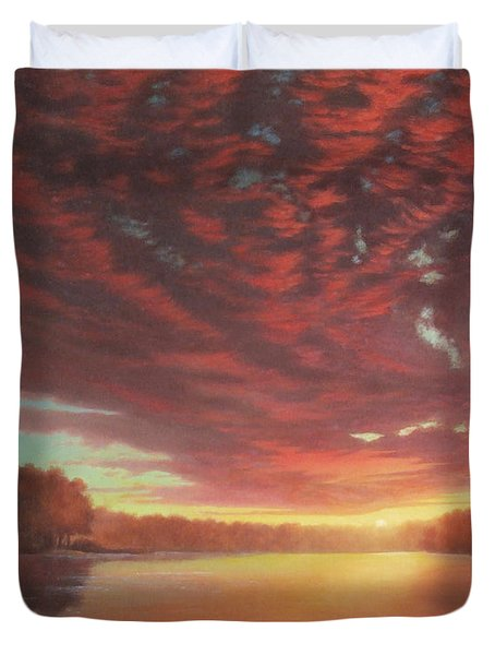 Riverbend Sunset Sky River Landscape Oil Painting American Yellow Pink Orange Duvet Cover by Walt Curlee