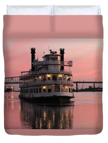 Riverboat At Sunset Duvet Cover by Cynthia Guinn