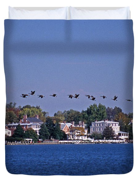 Riverfront Geese Duvet Cover by Skip Willits